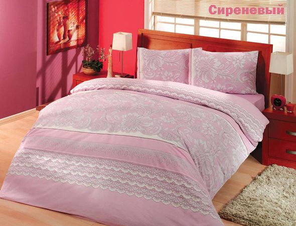 Комплект постельного белья Altinbasak CREAFORCE NATURA сиреневый евро 70*70(2), фото, фотография