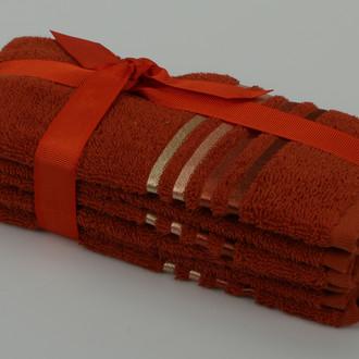 Подарочный набор полотенец для ванной 30*50(3) Karna BALE хлопковая махра (кирпичный)