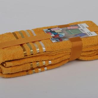 Подарочный набор полотенец для ванной 30*50(3) Karna BALE хлопковая махра (тёмно-жёлтый)