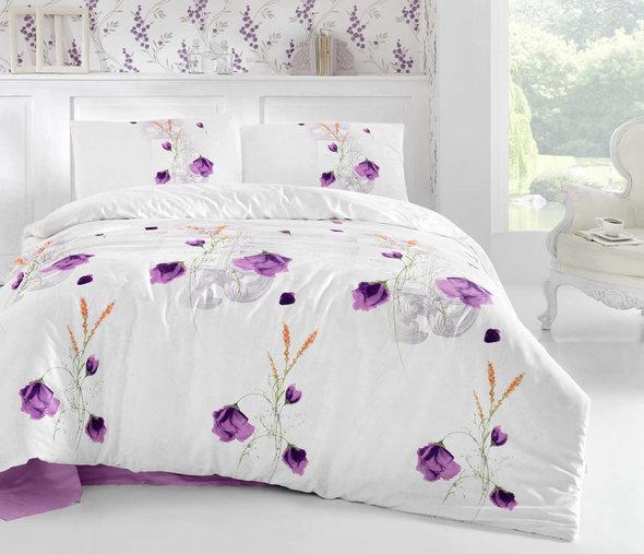 Комплект постельного белья Altinbasak CREAFORCE EDITA фиолетовый евро, фото, фотография