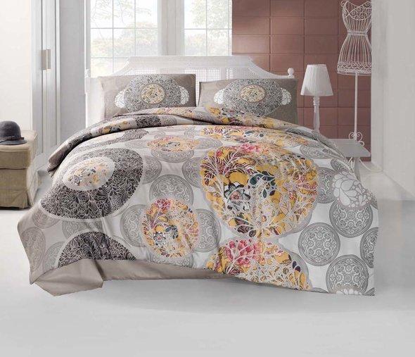 Комплект постельного белья Altinbasak CREAFORCE IZEM коричневый (евро, нав. 50 х 70 см), фото, фотография