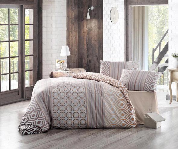 Комплект постельного белья Altinbasak CREAFORCE ADAL бежевый (евро, нав. 50 х 70 см), фото, фотография