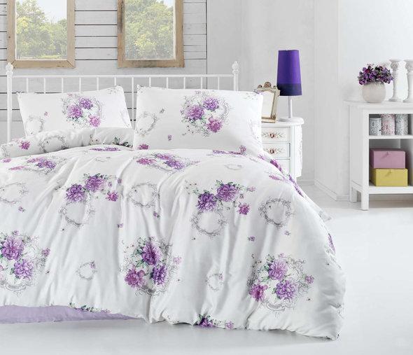 Комплект постельного белья Altinbasak CREAFORCE ZAIRA сиреневый (евро, нав. 50 х 70 см), фото, фотография