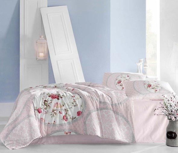 Комплект постельного белья Altinbasak CREAFORCE PERLITA розовый (евро, нав. 50 х 70 см), фото, фотография