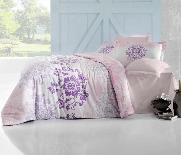 Комплект постельного белья Altinbasak ILMA Сатин розовый Евро, фото, фотография