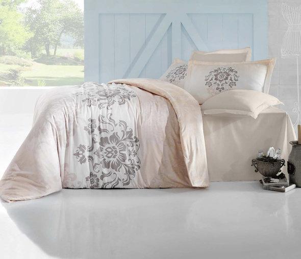 Комплект постельного белья Altinbasak ILMA Сатин кремовый Евро, фото, фотография