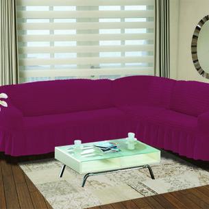 Чехол на диван угловой правосторонний 2+3 Bulsan фуксия