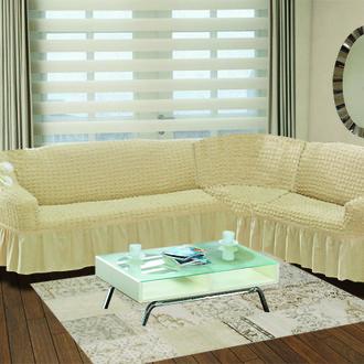 Чехол на диван угловой правосторонний 2+3 Bulsan натурал