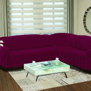 Чехол на диван угловой правосторонний 2+3 Bulsan бордовый