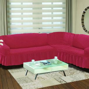 Чехол на диван угловой правосторонний 2+3 Bulsan грязно-розовый