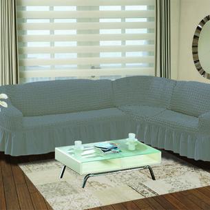 Чехол на диван угловой правосторонний 2+3 Bulsan серый