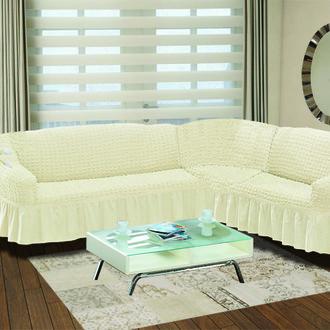 Чехол на диван угловой правосторонний 2+3 Bulsan кремовый