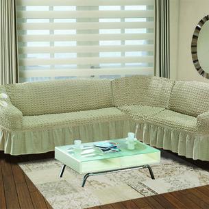 Чехол на диван угловой правосторонний 2+3 Bulsan кофейный