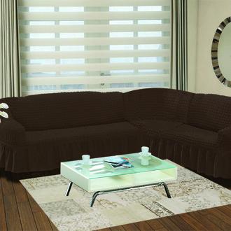 Чехол на диван угловой правосторонний 2+3 Bulsan коричневый