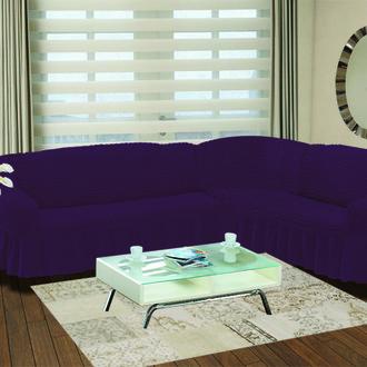 Чехол на диван угловой правосторонний 2+3 Bulsan фиолетовый