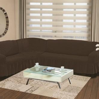 Чехол на диван угловой левосторонний 2+3 Bulsan коричневый