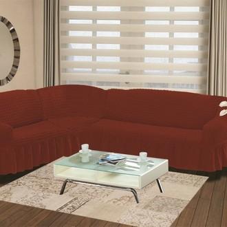 Чехол на диван угловой левосторонний 2+3 Bulsan кирпичный