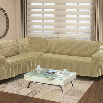 Чехол на диван угловой левосторонний 2+3 Bulsan бежевый