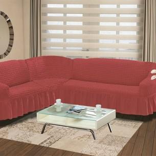 Чехол на диван угловой левосторонний 2+3 Bulsan грязно-розовый