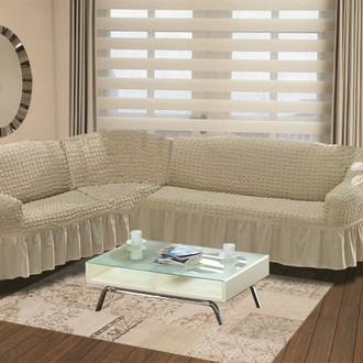 Чехол на диван угловой левосторонний 2+3 Bulsan кофейный