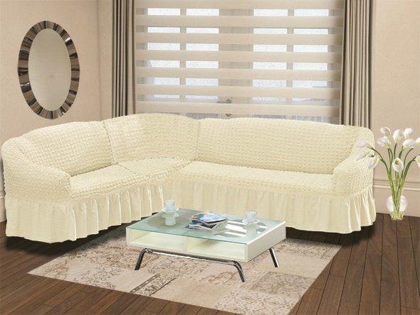 Чехол на диван угловой левосторонний 2+3 Bulsan кремовый, фото, фотография