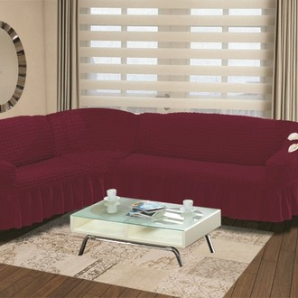 Чехол на диван угловой левосторонний 2+3 Bulsan бордовый