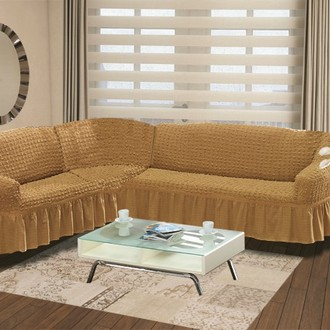 Чехол на диван угловой левосторонний 2+3 Bulsan горчичный