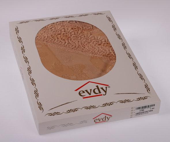 Скатерть овальная Evdy KDK полиэстер золотистый 160*300, фото, фотография