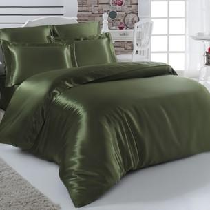 Постельное белье Karna ARIN искусственный шёлк зелёный евро