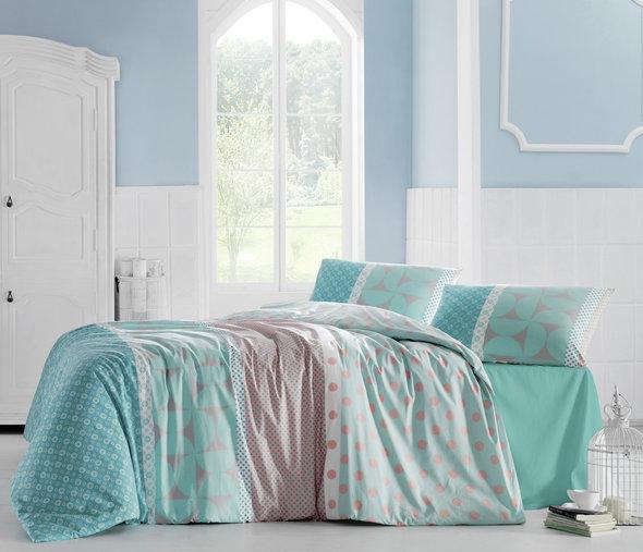 Комплект постельного белья Altinbasak CREAFORCE ALEDE бирюзовый евро, фото, фотография