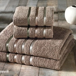 Подарочный набор полотенец для ванной Karna BALE хлопковая махра 50х80 2 шт., 70х140 2 шт. кофейный