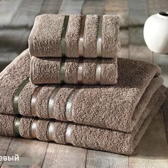Подарочный набор полотенец для ванной Karna BALE хлопковая махра 50*80(2), 70*140(2) (кофейный)