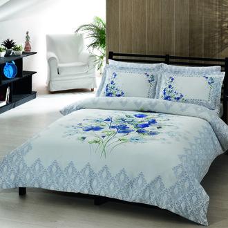 Комплект постельного белья TAC SATIN DELUX CAROL бело-голубой