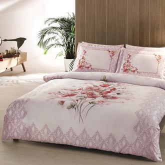 Комплект постельного белья TAC SATIN DELUX CAROL бело-розовый