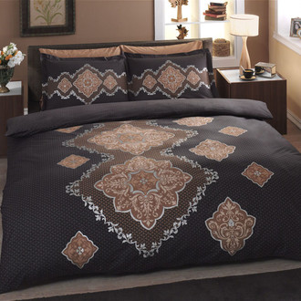 Комплект постельного белья TAC SATIN DELUX DIANE коричневый