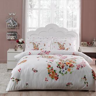 Комплект постельного белья TAC SATIN CLARINDA белый+оранжевый