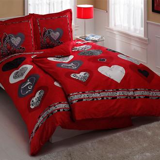 Комплект постельного белья TAC SATIN LUST LOVE красный