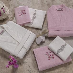 Набор халатов с полотенцами Altinbasak JEST розовый-кремовый 48-52