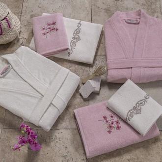 Набор халатов с полотенцами Altinbasak JEST розовый-кремовый