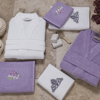 Набор халатов с полотенцами Altinbasak JEST сиреневый-белый