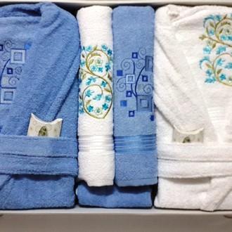 Набор халатов с полотенцами Nurpak BIOFLORES кремовый-голубой