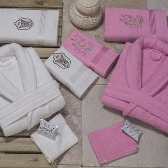 Набор халатов с полотенцами Nurpak BIOFLORES кремовый-розовый
