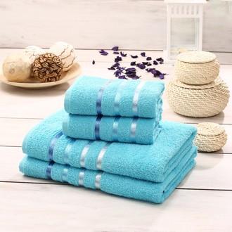 Подарочный набор полотенец для ванной Karna BALE хлопковая махра 50*80(2), 70*140(2) (бирюзовый)
