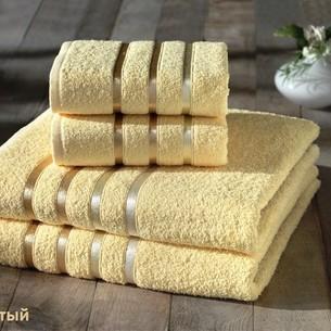 Подарочный набор полотенец для ванной Karna BALE хлопковая махра 50х80 2 шт., 70х140 2 шт. жёлтый