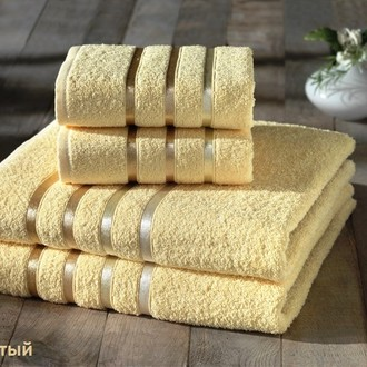 Подарочный набор полотенец для ванной Karna BALE хлопковая махра 50*80(2), 70*140(2) (жёлтый)