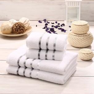 Подарочный набор полотенец для ванной Karna BALE хлопковая махра 50х80 2 шт., 70х140 2 шт. белый