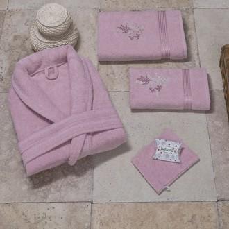 Халат с полотенцами NURPAK BIOFLORES грязно-розовый