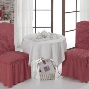 Набор чехлов на стулья 2 шт. Bulsan BURUMCUK грязно-розовый