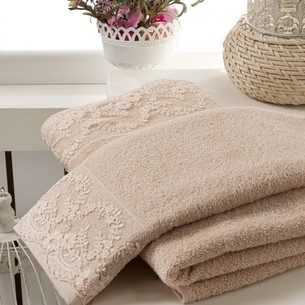 Подарочный набор полотенец для ванной 50х90, 70х140 Karna ELINDA хлопковая махра бежевый
