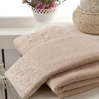 Подарочный набор полотенец для ванной 50*90, 70*140 Karna ELINDA хлопковая махра (бежевый)